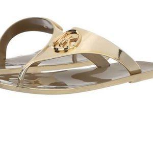 MICHAEL Kors Lillie Jelly Thong Metallic sandals